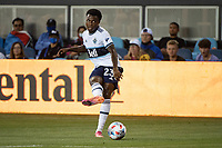 SAN JOSE, CA - AUGUST 13: Javain Brown #23 of the Vancouver Whitecaps passes the ball during a game between San Jose Earthquakes and Vancouver Whitecaps at PayPal Park on August 13, 2021 in San Jose, California.