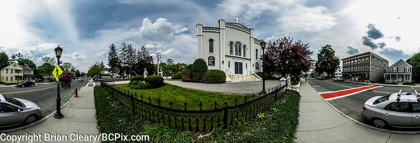 St Mary's Catholic Church, Lee, Mass,  taken with a Ricoh Theta S 360 degree camera on May 27, 2016.  (Photo by Brian Cleary/BCPix.com)