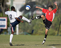 USA's Omobi Okugo (8) battles a Vardar player for the ball. 2007 Nike Friendlies, which are taking place from Dec. 6-9 at IMG Academies in Bradenton, Fla.