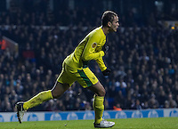 12.12.2013 London, England. Anzhi Makhachkala defender Ewerton (37) wheels away to celebrate making it 2-1 during the Europa League game between Tottenham Hotspur and Anzhi Makhachkala from White Hart Lane.