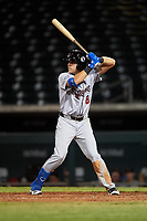 Scottsdale Scorpions Cullen Large (8), of the Toronto Blue Jays organization, at bat during an Arizona Fall League game against the Mesa Solar Sox on September 18, 2019 at Sloan Park in Mesa, Arizona. Scottsdale defeated Mesa 5-4. (Zachary Lucy/Four Seam Images)