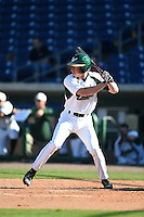 USF Bulls third baseman Zac Gilcrease (16) at bat during a game against the Alabama State Hornets on February 15, 2015 at Bright House Field in Clearwater, Florida.  USF defeated Alabama State 12-4.  (Mike Janes/Four Seam Images)