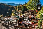 Oesterreich, Steyrisches Salzkammergut, Herbststimmung am Toplitzsee, Gasthof Fischerhuette | Austria, Styrian Salzkammergut, Goessl at Grundl Lake: autumn scenery, Inn Fischerhuette