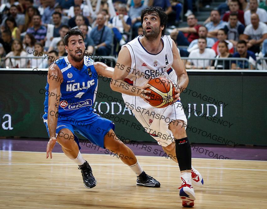 Kosarka-Basketball<br /> Srbija v Grcka-Prijateljski Mec<br /> Milos Teodosic (R) and Giannis Athinaiou<br /> Beograd, 28.06.2016.<br /> foto: Srdjan Stevanovic/Starsportphoto ©