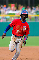 Buffalo Bisons outfielder Jonathan Davis (2) runs to third base during an International League game against the Indianapolis Indians on July 28, 2018 at Victory Field in Indianapolis, Indiana. Indianapolis defeated Buffalo 6-4. (Brad Krause/Four Seam Images)