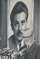 1968 FILE PHOTO - ARCHIVES <br /> <br /> Addressing Quebec liberals on Sunday night, Prime Minister Pearson stands in front of huge poster of Manpower Minister Jean Marchand, leader of Quebec Liberal wing, as he tells convention Quebec separation would be 'folly.'<br /> <br /> 1968<br /> <br /> PHOTO :  Doug Griffin - Toronto Star Archives - AQP