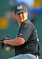3 September 2008: Tri-City Valley Cats pitcher Kyle Greenwalt warms up prior to a NY Penn-League game against the Vermont Lake Monsters at Centennial Field in Burlington, Vermont. The Lake Monsters defeated the Valley Cats 6-5 in extra innings. Mandatory Photo Credit: Ed Wolfstein Photo