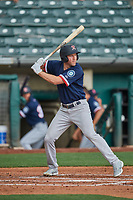 Eric Campbell (36) of the Tacoma Rainiers at bat against the Salt Lake Bees at Smith's Ballpark on May 16, 2021 in Salt Lake City, Utah. The Bees defeated the Rainiers 8-7. (Stephen Smith/Four Seam Images)