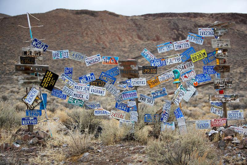 License plate display. Black Rock Desert National Conservation Area. Nevada