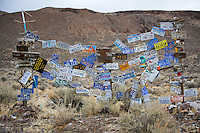 License plate display. Black Rock Desert National Conservation Area. Nevada