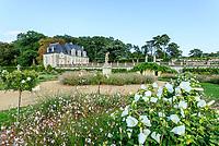 France,  Indre-et-Loire (37), Chançay, jardins du château de Valmer,la terrasse de Léda, statue entourée de gauras (Gaura lindheimeri = Oenothera lindheimeri), Hibiscus 'Diana', rosiers sur tige 'Marie Pavie'