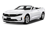 2020 Chevrolet Camaro 1LT 2 Door Convertible Angular Front automotive stock photos of front three quarter view