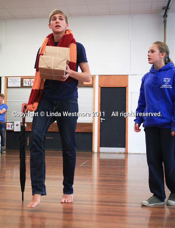 """The fawn, """"Mr Tumnus"""", and """"Lucy"""".  The Yvonne Arnaud Youth Theatre rehearsing """"The Lion, the Witch and the Wardrobe"""", Guildford, Surrey."""