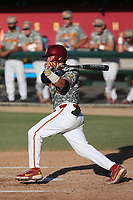 Garret Guillemette (33) of the USC Trojans bats against the UCLA Bruins at Dedeaux Field on March 28, 2021 in Los Angeles, California. UCLA defeated USC, 13-1. (Larry Goren/Four Seam Images)