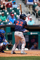 Pawtucket Red Sox center fielder Cole Sturgeon (22) at bat in front of catcher Michael De La Cruz (43) during a game against the Buffalo Bisons on June 28, 2018 at Coca-Cola Field in Buffalo, New York.  Buffalo defeated Pawtucket 8-1.  (Mike Janes/Four Seam Images)