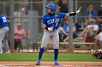 Indiana State Sycamores Josue Urdaneta (2) calls for time during the teams opening game of the season against the Pitt Panthers on February 19, 2021 at North Charlotte Regional Park in Port Charlotte, Florida.  (Mike Janes/Four Seam Images)