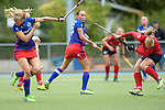 GER - Mannheim, Germany, October 09: During the women hockey match between Mannheimer HC (blue) and Ruesselsheimer RK (red) on October 9, 2016 at Mannheimer HC in Mannheim, Germany. Final score 6-0 (HT 1-0). (Photo by Dirk Markgraf / www.265-images.com) *** Local caption *** Greta Lyer #10 of Mannheimer HC, Nikki Kidd #26 of Mannheimer HC