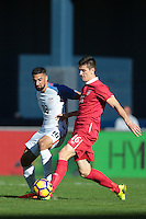 San Diego, CA - Sunday January 29, 2017: Sebastian Lletget, Jovan Djokic during an international friendly between the men's national teams of the United States (USA) and Serbia (SRB) at Qualcomm Stadium.