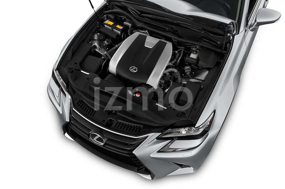 Car Stock 2016 Lexus GS 350 4 Door Sedan Engine  high angle detail view