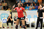Rüsselsheim, Germany, April 13: Liana Mesa Luaces #11 of the Rote Raben Vilsbiburg celebrates after winning a point during play off Game 1 in the best of three series in the semifinal of the DVL (Deutsche Volleyball-Bundesliga Damen) season 2013/2014 between the VC Wiesbaden and the Rote Raben Vilsbiburg on April 13, 2014 at Grosssporthalle in Rüsselsheim, Germany. Final score 0:3 (Photo by Dirk Markgraf / www.265-images.com) *** Local caption ***