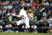 Bradenton Marauders outfielder Austin Meadows (13) at bat during a game against the Jupiter Hammerheads on April 18, 2015 at McKechnie Field in Bradenton, Florida.  Bradenton defeated Jupiter 4-1.  (Mike Janes/Four Seam Images)