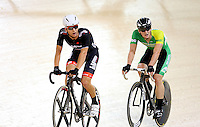Aaron Gate and Dylan Kennett at the BikeNZ Elite & U19 Track National Championships, Avantidrome, Home of Cycling, Cambridge, New Zealand, Sunday, March 16, 2014. Credit: Dianne Manson