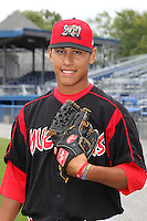 Batavia Muckdogs pitcher Javier Avendano during game two of the NYPL Semifinals vs. the Tri-City Valleycats at Dwyer Stadium in Batavia, New York September 8, 2010.   Batavia defeated Tri-City 5-4.  Photo By Mike Janes/Four Seam Images