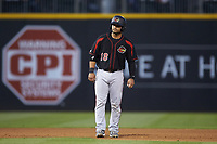 Tomas Telis (18) of the Rochester Red Wings takes his lead off of second base against the Charlotte Knights at BB&T BallPark on May 14, 2019 in Charlotte, North Carolina. The Knights defeated the Red Wings 13-7. (Brian Westerholt/Four Seam Images)