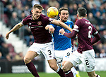 St Johnstone v Hearts…29.09.18…   Tynecastle     SPFL<br />Chris Kasne loses out to Jimmy Dunne<br />Picture by Graeme Hart. <br />Copyright Perthshire Picture Agency<br />Tel: 01738 623350  Mobile: 07990 594431