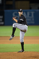 Kannapolis Intimidators relief pitcher Tanner Mendonca (27) in action against the Greensboro Grasshoppers at NewBridge Bank Park on July 7, 2016 in Greensboro, North Carolina.  The Dash defeated the Pelicans 13-9.  (Brian Westerholt/Four Seam Images)