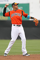 Bowie Baysox shortstop Manny Machado #3 throws during a game against the New Hampshire Fisher Cats at Prince George's Stadium on June 17, 2012 in Bowie, Maryland. New Hampshire defeated Bowie 4-3 in 13 innings. (Brace Hemmelgarn/Four Seam Images)