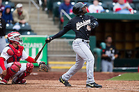Everett Williams #45 of the San Antonio Missions follows through his swing during a game against the Springfield Cardinals at Hammons Field on April 16, 2013 in Springfield, Missouri. (David Welker/Four Seam Images)