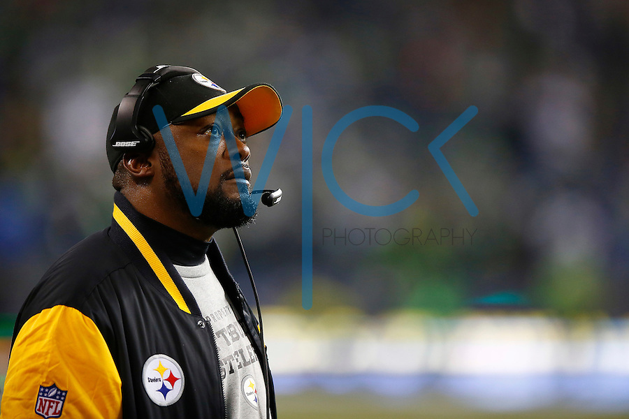 Head coach Mike Tomlin of the Pittsburgh Steelers in action against the Seattle Seahawks during the game at CenturyLink Field on November 29, 2015 in Seattle, Washington. (Photo by Jared Wickerham/DKPittsburghSports)