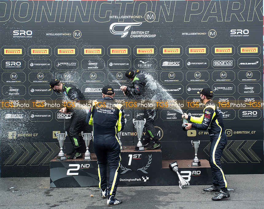 \The Andrew Howard & Jonny Adam, Aston Martin Vantage AMR GT3, Beechdean AMR team spray winners Richard Neary & Sam Neary, Mercedes AMG GT3, Team Abba Racing with champagne during the British GT & F3 Championship on 11th July 2021