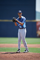 West Michigan Whitecaps starting pitcher Wilkel Hernandez (16) gets ready to deliver a pitch during a game against the Quad Cities River Bandits on July 23, 2018 at Modern Woodmen Park in Davenport, Iowa.  Quad Cities defeated West Michigan 7-4.  (Mike Janes/Four Seam Images)