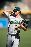Oakland Athletics Skye Bolt (28) warms up before an Instructional League game against the Arizona Diamondbacks on October 15, 2016 at Chase Field in Phoenix, Arizona.  (Mike Janes/Four Seam Images)