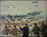 Bmth News (01202) 558833<br /> Pic: Matt Morton/BNPS<br /> <br /> Pitcured: Mural of the scene at Studland, Dorset in 1944.<br /> <br /> The medals and personal effects of an unsung hero of D-Day have emerged for sale for £6,000.<br /> <br /> Lieutenant Colonel Douglas Bain trialled the amphibious Duplex Drive tanks ahead of the Normandy landings in June 1944.<br /> <br /> He commanded three DD training schools preparing tanks for sea and river assaults, reporting personally to Field Marshal Bernard Montgomery.<br /> <br /> The dangerous trials, which tested the 'waterproofing' of the amphibious armoured vehicles, were carried out off the south coast of England.