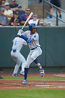 Maikel Garcia (2) of the Burlington Royals at bat against the Pulaski Yankees at Calfee Park on September 1, 2019 in Pulaski, Virginia. The Royals defeated the Yankees 5-4 in 17 innings. (Brian Westerholt/Four Seam Images)
