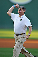 USC Upstate Chencellor Tom Moore throws out the first pitch before a game against the South Carolina Gamecocks  on Tuesday, March 15, 2016, at Fluor Field at the West End in Greenville, South Carolina. (Tom Priddy/Four Seam Images)