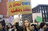 "- Milano,15 marzo 2019, manifestazione di giovani e studenti ""Global Strike for Future"", in protesta contro i cambiamenti climatici ed il riscaldamento globale<br />