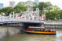 Cavenagh Bridge over Singapore River, 1870, Singapore.