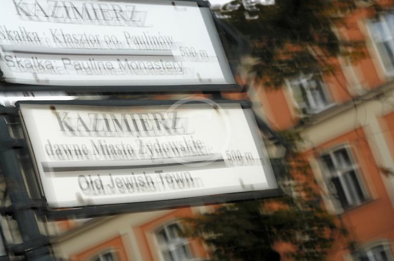 Poland, Krakow, Street sign, Kazimierz