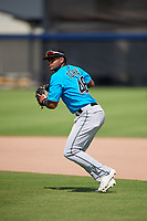 Miami Marlins second baseman Christopher Torres (48) during practice before an Instructional League game against the Washington Nationals on September 26, 2019 at FITTEAM Ballpark of The Palm Beaches in Palm Beach, Florida.  (Mike Janes/Four Seam Images)