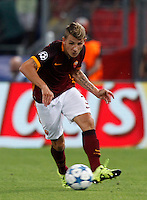 Calcio, Champions League, Gruppo E: Roma vs Barcellona. Roma, stadio Olimpico, 16 settembre 2015.<br /> Roma's Lucas Digne in action during a Champions League, Group E football match between Roma and FC Barcelona, at Rome's Olympic stadium, 16 September 2015.<br /> UPDATE IMAGES PRESS/Riccardo De Luca<br /> <br /> *** ITALY AND GERMANY OUT ***