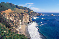 Rugged Coastline along Pacific West Coast at Bixby Creek, Big Sur, California, USA - along Pacific Coast Highway 1