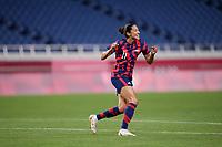 SAITAMA, JAPAN - JULY 24: Christen Press #11 of the United States scores and celebrates her goal during a game between New Zealand and USWNT at Saitama Stadium on July 24, 2021 in Saitama, Japan.