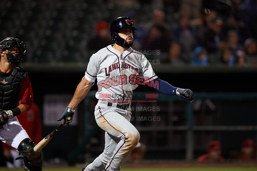 Lancaster JetHawks right fielder Willie Abreu (13) follows through on his swing in front of Jack Kruger (27) during a California League game against the Inland Empire 66ers at San Manuel Stadium on May 18, 2018 in San Bernardino, California. Lancaster defeated Inland Empire 5-3. (Zachary Lucy/Four Seam Images)