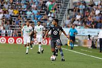 SAINT PAUL, MN - JUNE 23: Chase Gasper #77 of Minnesota United FC during a game between Austin FC and Minnesota United FC at Allianz Field on June 23, 2021 in Saint Paul, Minnesota.