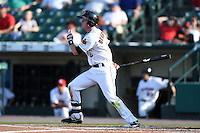 Rochester Red Wings second baseman James Beresford (2) at bat during the second game of a doubleheader against the Buffalo Bisons on July 6, 2014 at Frontier Field in Rochester, New  York.  Rochester defeated Buffalo 6-1.  (Mike Janes/Four Seam Images)