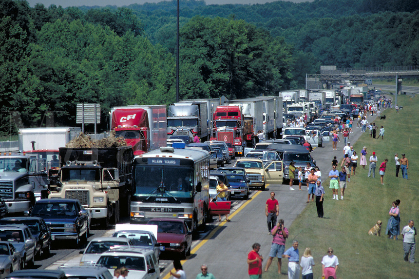 Traffic jam on Interstate 95 between Baltimore and Delaware. Transportation, Vehicles, Roads, Travel. Maryland USA I-95.
